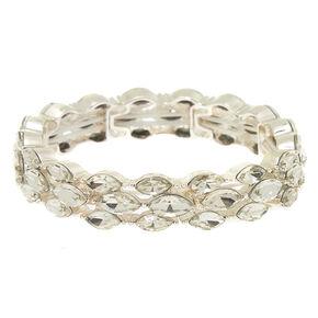 Silver Gl Rhinestone Leaf Stretch Bracelet