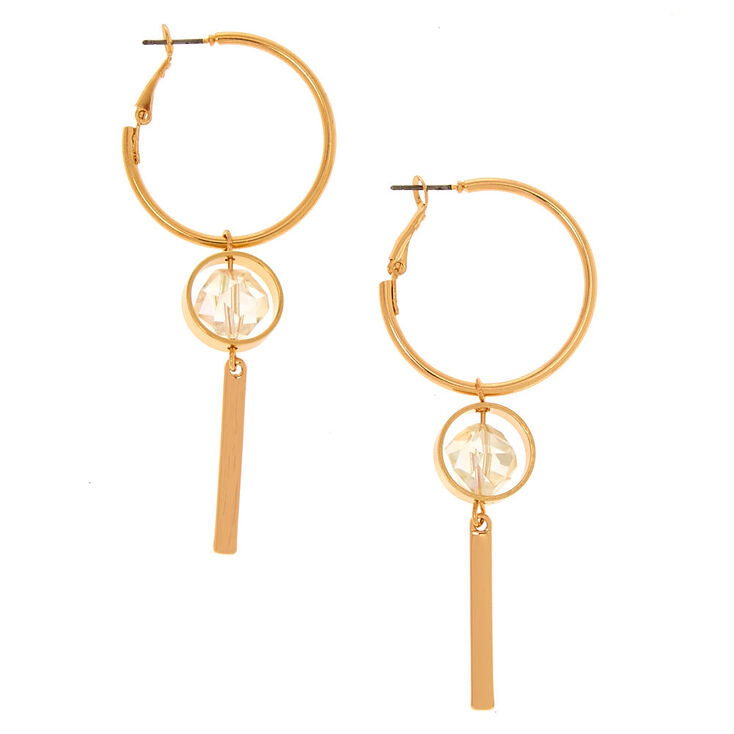 30MM Gold-Tone Hoop & Drop Earrings,