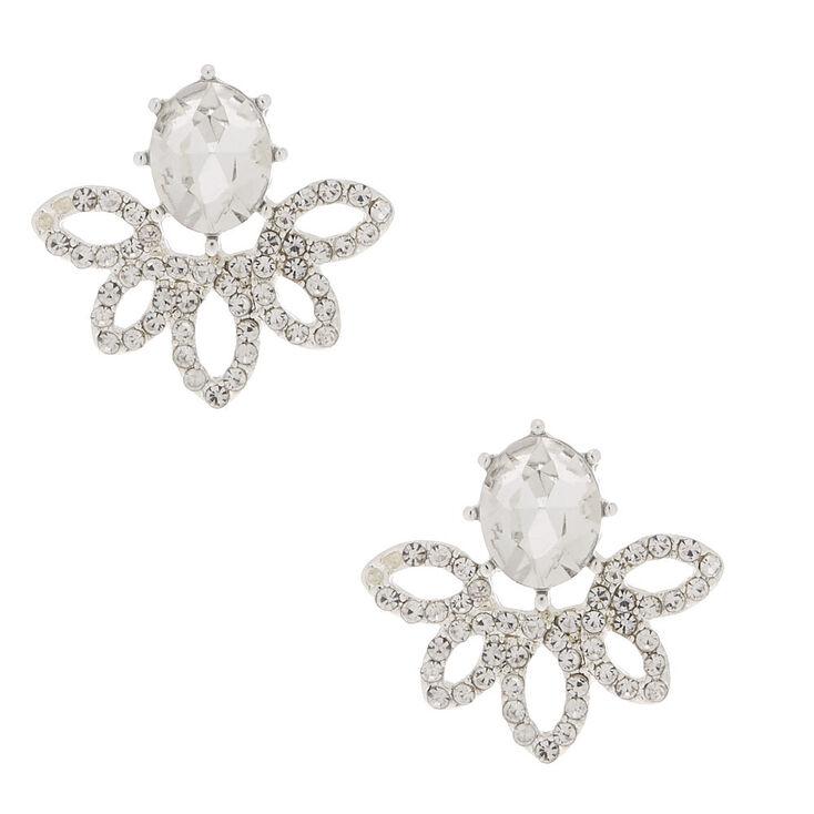 4caefee33 Silver Rhinestone Fan Stud Earrings | Claire's US