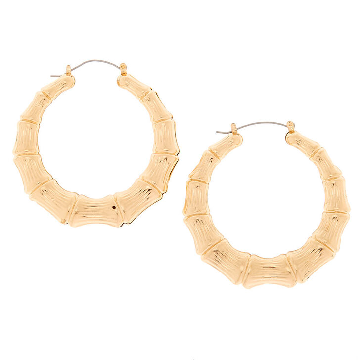 Gold 60mm Bamboo Hoop Earrings