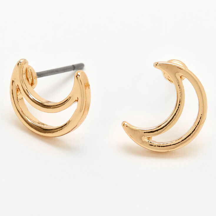 Gold Crescent Moon Outline Stud Earrings,