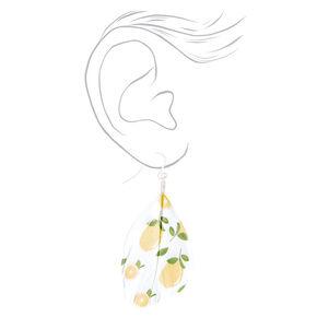 """Silver 2"""" Lemon Feather Drop Earrings - Yellow,"""