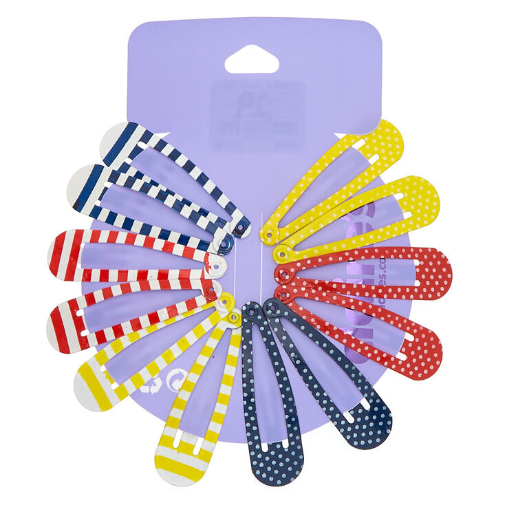 Summer Stripes & Polka Dots Snap Hair Clips - 12 Pack,