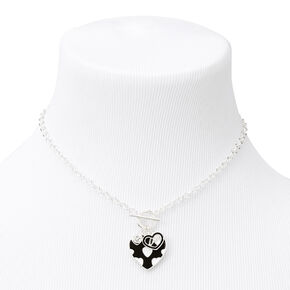 Silver Enamel Hearts Toggle Necklace,