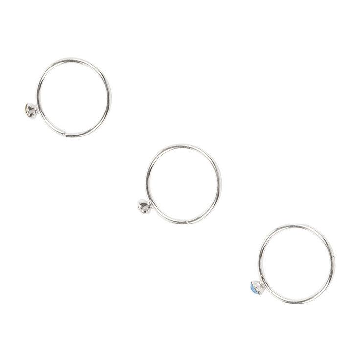 Sterling Silver Pastel Crystal Cartilage Hoop Earrings ...