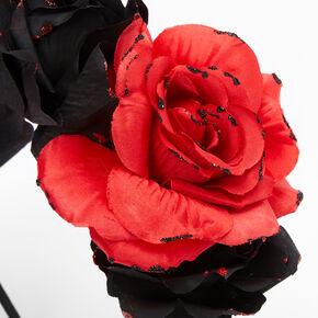 Serre-tête floral noir et rouge,