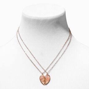 Best Friends Framed Flowers Split Heart Pendant Necklaces - 2 Pack,