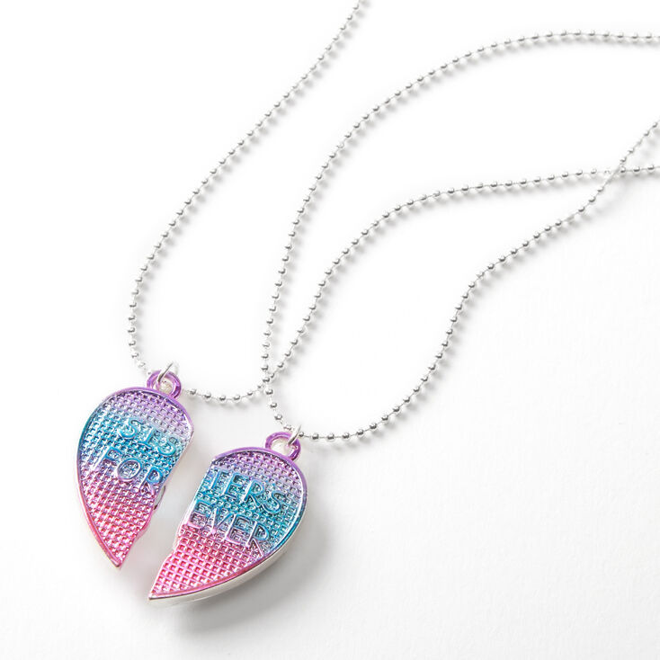 Best Friends Blue & Pink Waffle Heart Pendant Necklaces - 2 Pack,