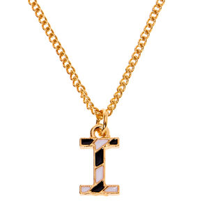 Gold Striped Initial Pendant Necklace - I,