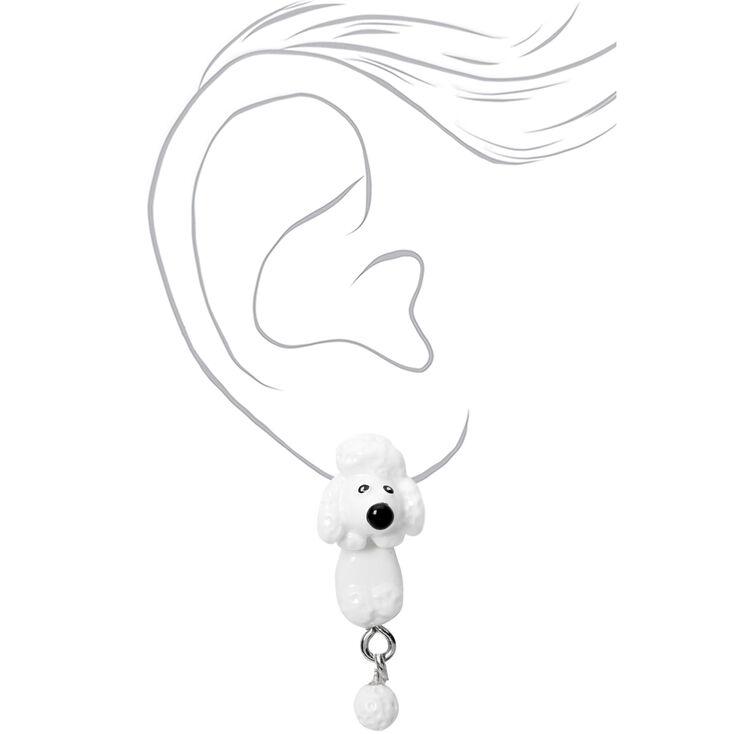 Boucles d'oreilles devant-derrière caniche couleur argentée - Blanc,