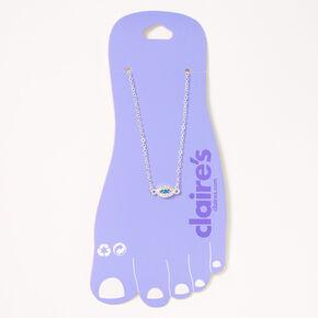 Silver Embellished Evil Eye Chain Anklet,