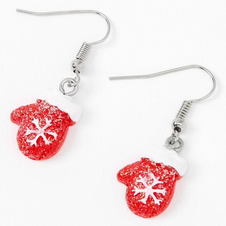 "Silver 1"" Snowflake Mittens Drop Earrings - Red,"