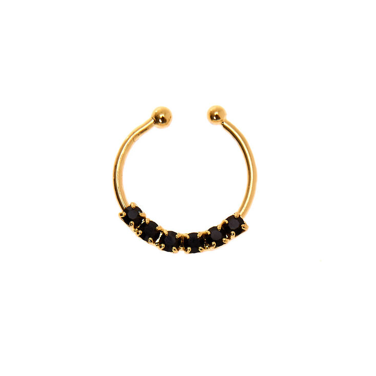 Gold Stone Faux Septum Nose Ring - Black,