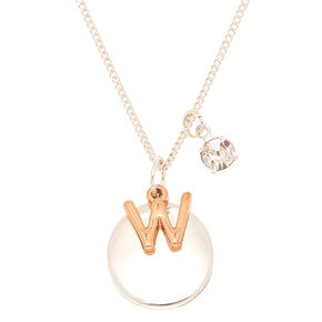 Mixed Metal Initial Charm Pendant Necklace - W,