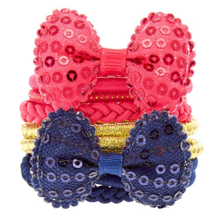 Kids 10 Pack Pink, Gold & Navy Blue Hair Ties,