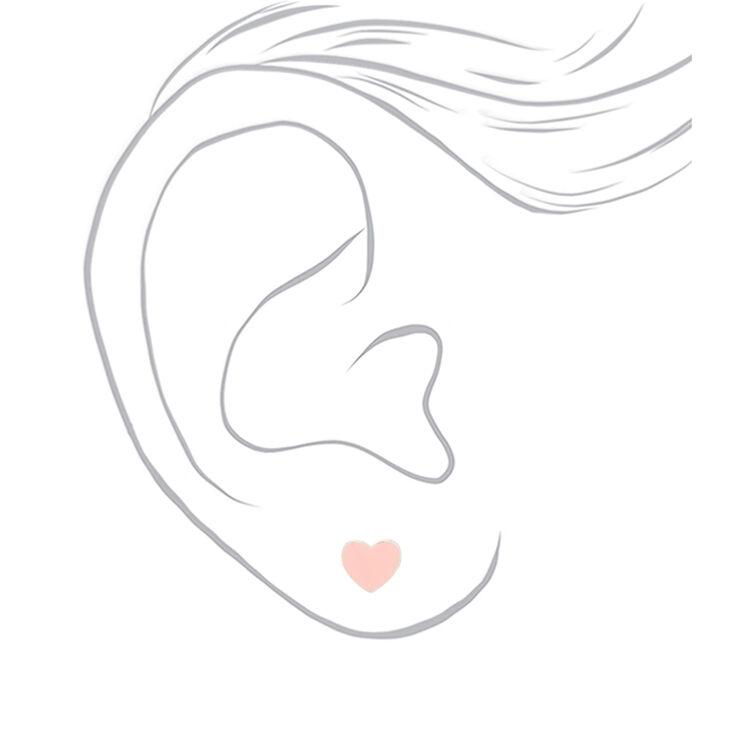 Heart Stud Earrings - Pink,
