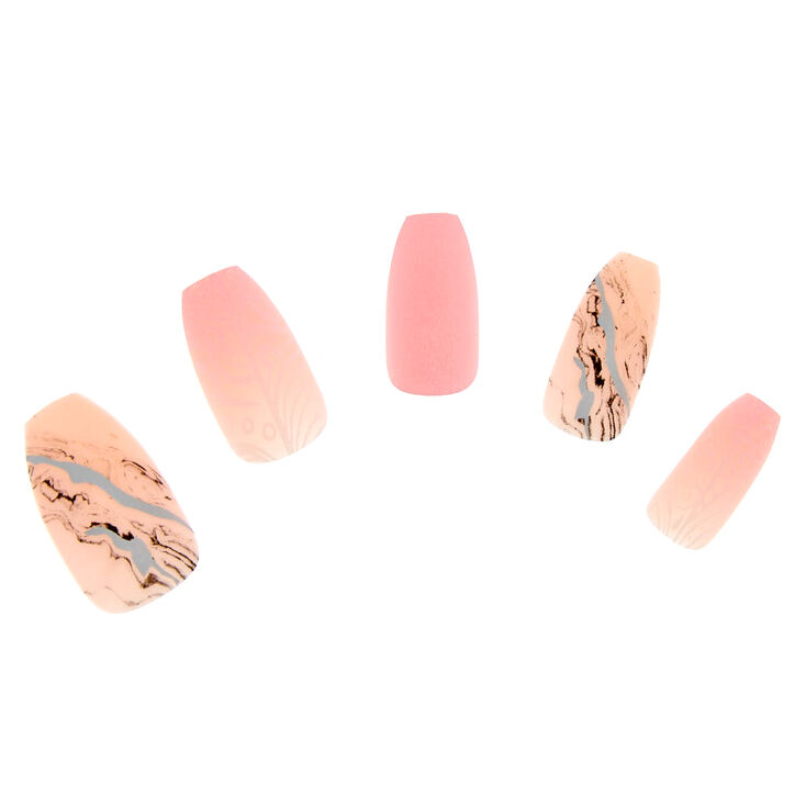 Marble Coffin False Nails - Pink,