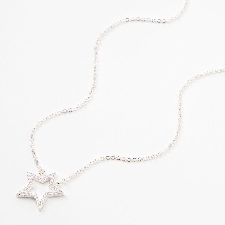Silver Rhinestone Star Outline Pendant Necklace,