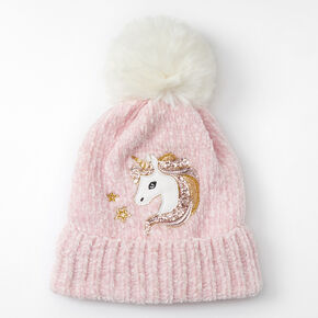 Claire's Club Miss Glitter the Unicorn Chenille Beanie - Pink,