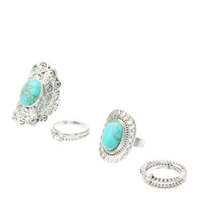 Silver & Turquoise Marble Style Stacking Rings,