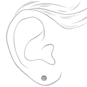 Silver Cubic Zirconia Round Vintage Stud Earrings - 5MM,