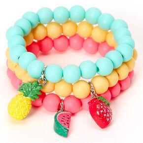 Bracelets élastiques perlés fruits estivaux Claire'sClub - Lot de 3,