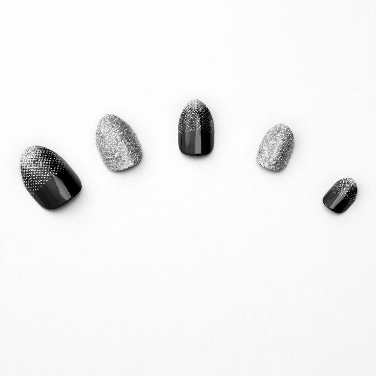Black & Silver Gradient Stiletto Press On Faux Nail Set - 24 Pack,