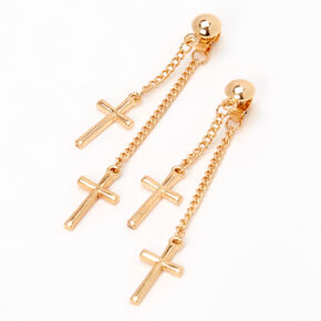 "Gold 2"" Double Cross Front and Back Drop Earrings,"