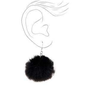 """Silver 2"""" Pom Pom Drop Earrings - Black,"""