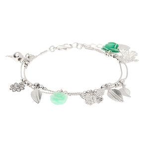 Bracelet à breloques printanières couleur argenté - Vert menthe,