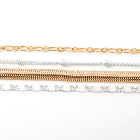 Mixed Metal Sleek Chain Multi Strand Choker Necklace,