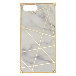 White Marble Geometric Square Phone Case - Fits iPhone 6/7/8/SE,