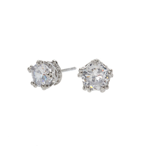 Claire's - cubic zirconia 5mm round stud earrings - 1