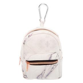 Porte-clés mini sac à dos effet marbré - Blanc,