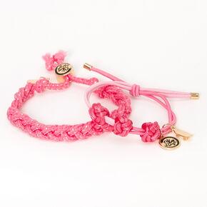 Sky Brown™ Adjustable Braided bracelets – Pink, 2 pack,