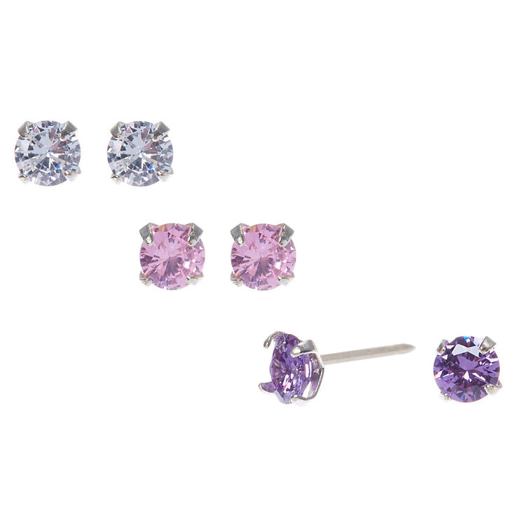 Silver Cubic Zirconia 5MM Round Stud Earrings - 3 Pack,