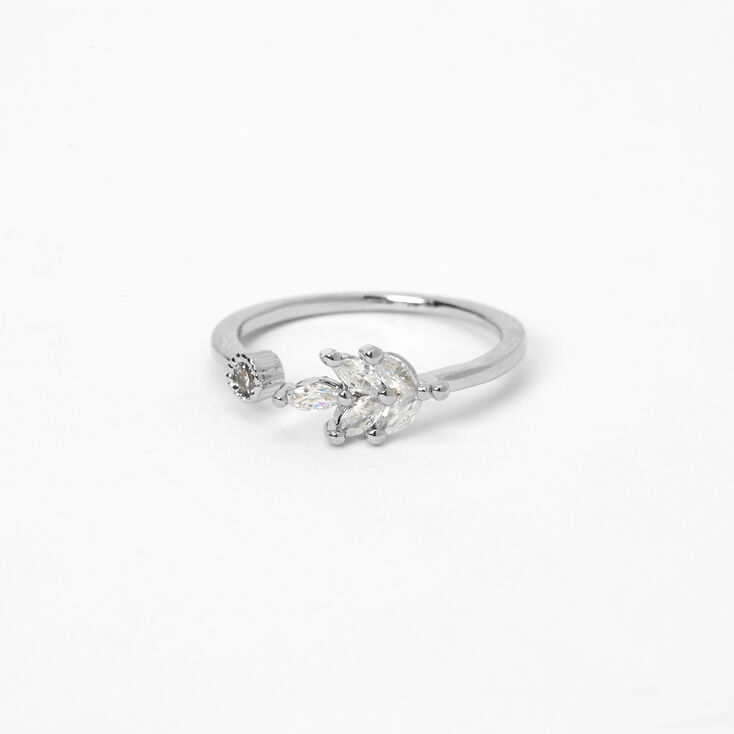 Silver Open Leaf Cubic Zirconia Ring,