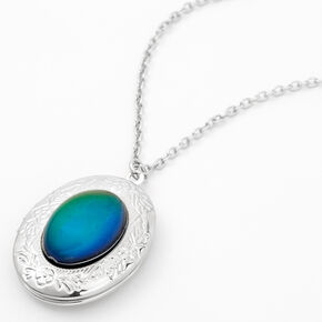 Silver Mood Oval Locket Pendant Necklace,