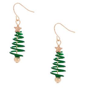 Rose Gold 1 5 Spiral Christmas Tree Drop Earrings Green