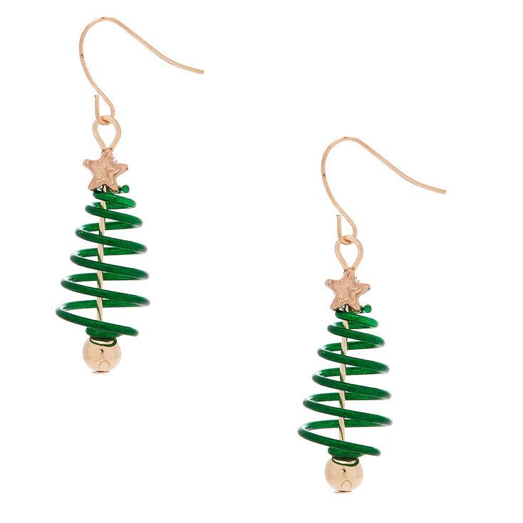 rose gold 15 spiral christmas tree drop earrings