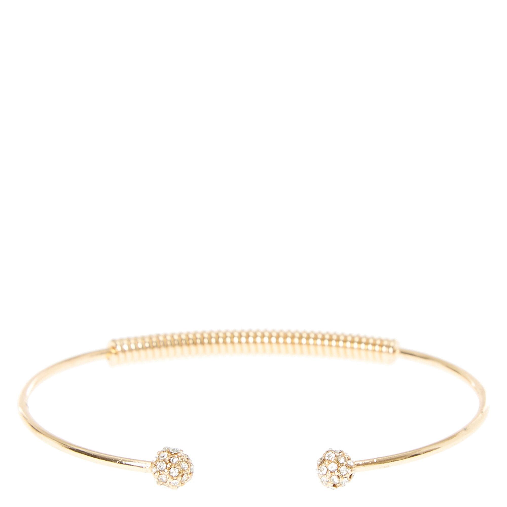 Gold Crystal Ball Open Cuff Bracelet