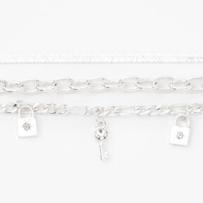Silver  Chain Bracelets - 3 Pack,