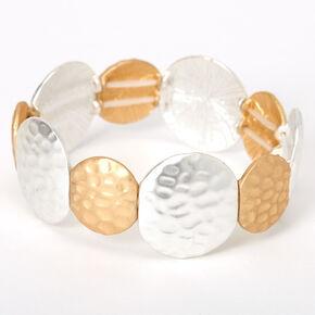 Bracelet élastique cercles martelés couleur dorée et couleur argentée,