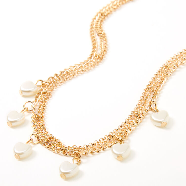 Claire's Club Gold Dangle Heart Pearl Necklace,