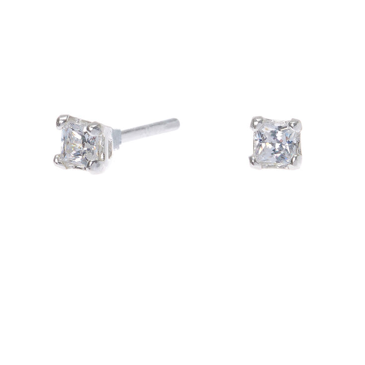 80281b21f288 Sterling Silver Cubic Zirconia 3MM Square Stud Earrings