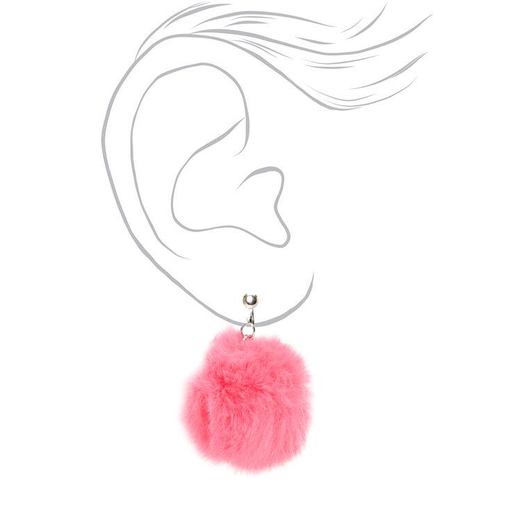"""Silver 1.5"""" Pom Pom Clip On Drop Earrings - Pink,"""