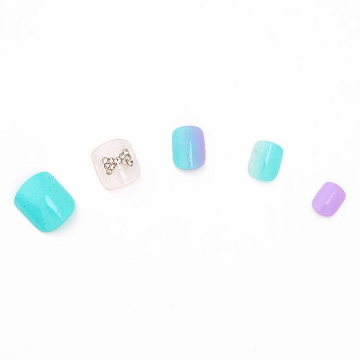 Mint & Purple Bow Square Faux Nails - 24 Pack,