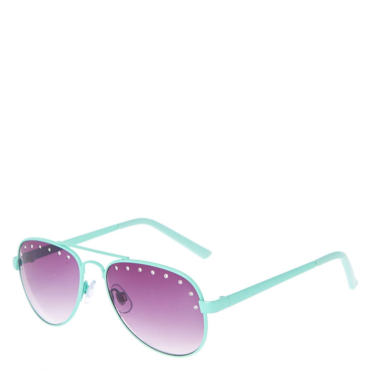 Kids Aviator Sunglasses with Mint Frames and Rhinestones | Claire\'s US