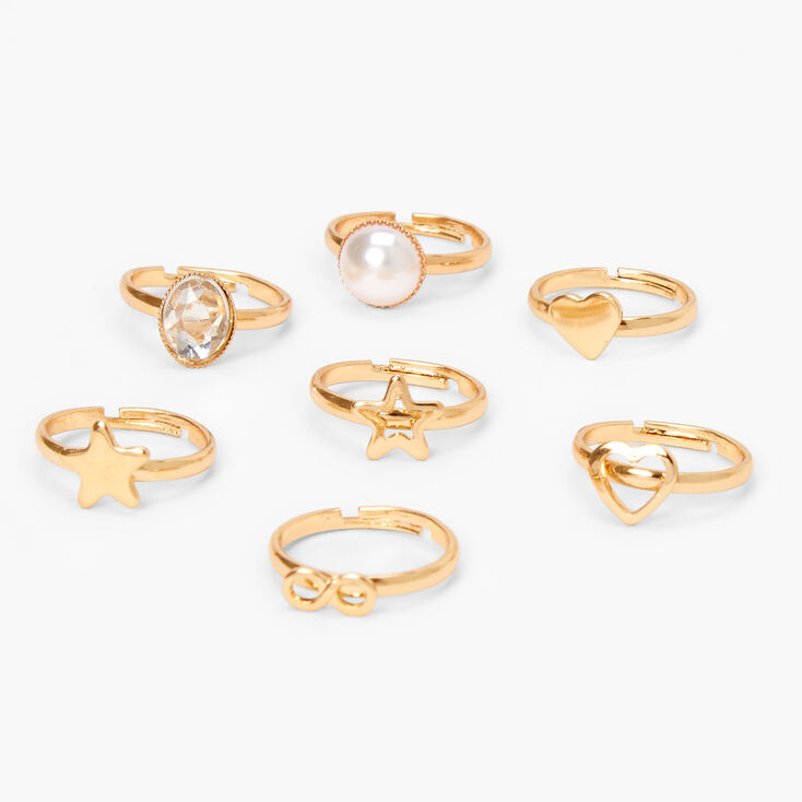 Claire's Club Gold Basics Rings - 7 Pack,