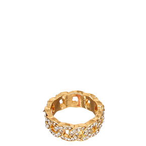 Gold Chain & Faux Crystal Ring,